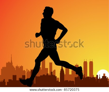 vector silhouette of a city and a running man - stock vector
