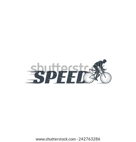 Vector silhouette of a cyclist - stock vector