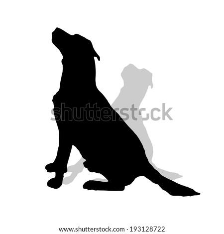 Vector silhouette of a dog on a white background. - stock vector