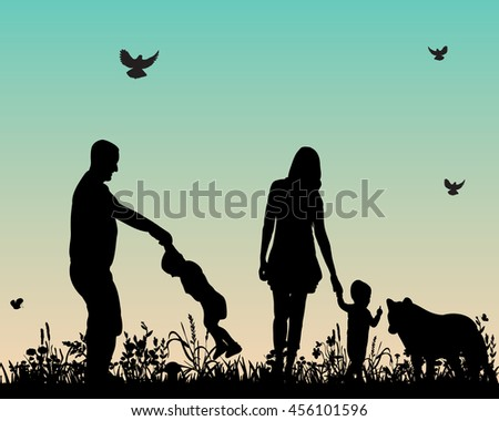 vector silhouette of a family with children and dog