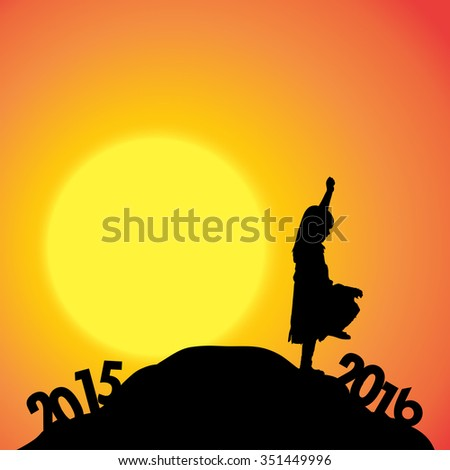 Vector silhouette of a girl who goes for the new year.