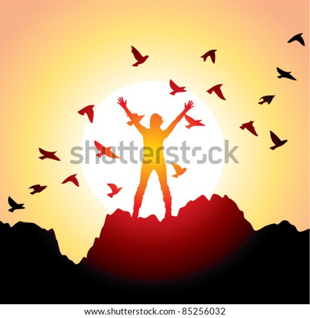 vector silhouette of a girl with raised hands and flying birds - stock vector