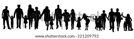 Vector silhouette of a group of people who are holding hands. - stock vector