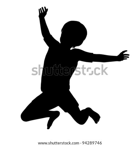 Vector silhouette of a healthy young child jumping high into the air - stock vector