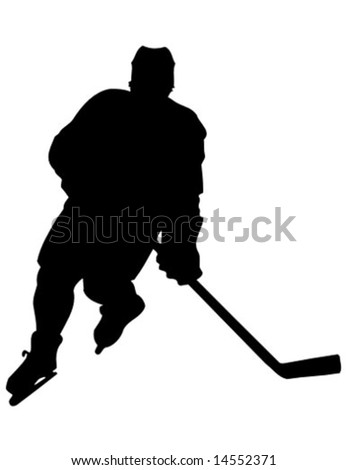vector silhouette of a hochey player - stock vector
