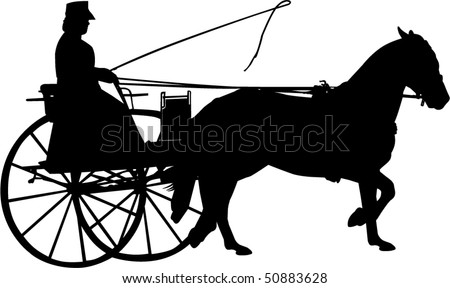 Vector Silhouette of a Horse and Buggy - stock vector