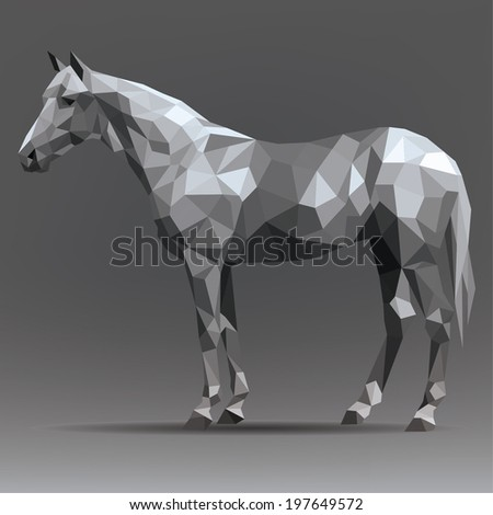 Vector silhouette of a horse in origami style - stock vector