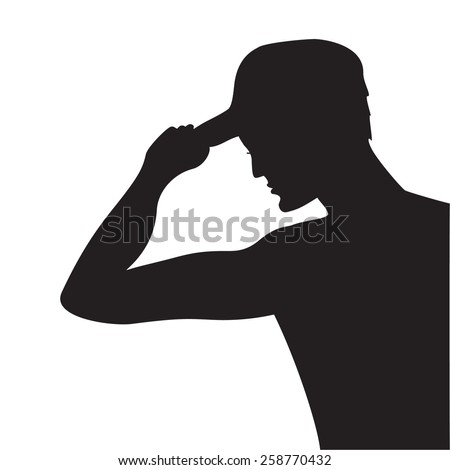 Vector silhouette of a man in a baseball cap on a white background.