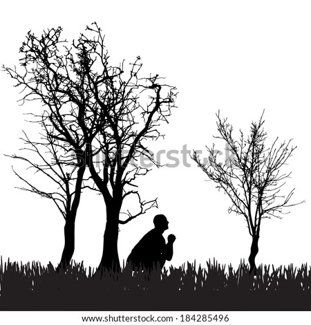 Vector silhouette of a man in nature.