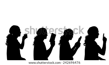 Vector silhouette of a man in profile on a white background. - stock vector