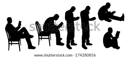 vector silhouette of a man on a chair and reading - stock vector