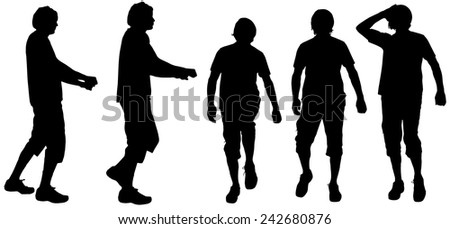 Vector silhouette of a man on white background.
