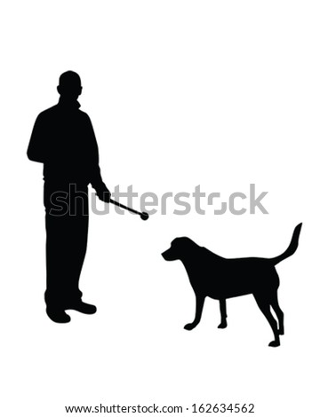 Vector Silhouette of a man playing ball with his dog