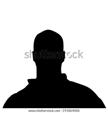 Vector silhouette of a man's head on a white background.