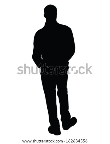 Vector Silhouette of a man standing looking away