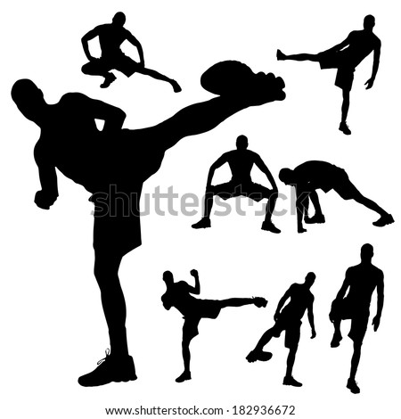 Vector silhouette of a man who boxes.