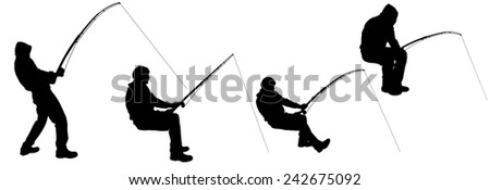 Vector silhouette of a man who fishes. - stock vector