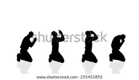 Vector silhouette of a man who prays on a white background. - stock vector