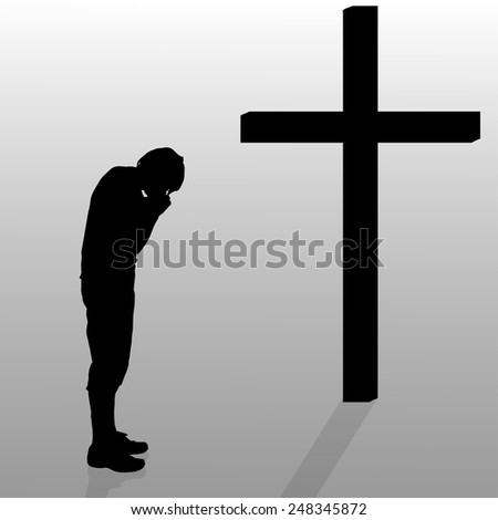 Vector silhouette of a man who stay in front of a cross.