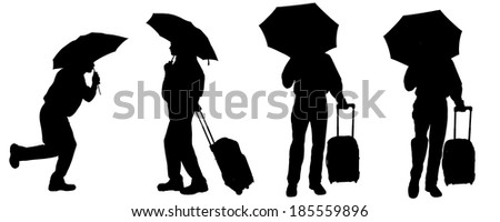 Vector silhouette of a man with a suitcase on a white background.