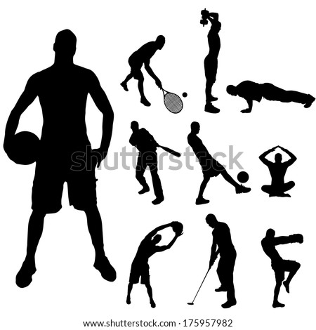 Vector silhouette of a man with various sporting activities. - stock vector