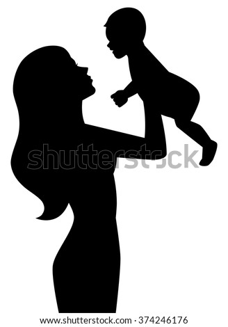 Vector silhouette of a mother holding a baby on hands - stock vector