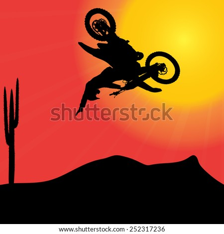 Vector silhouette of a motorcycle at sunset.