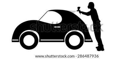 Vector silhouette of a painter who squirts car.