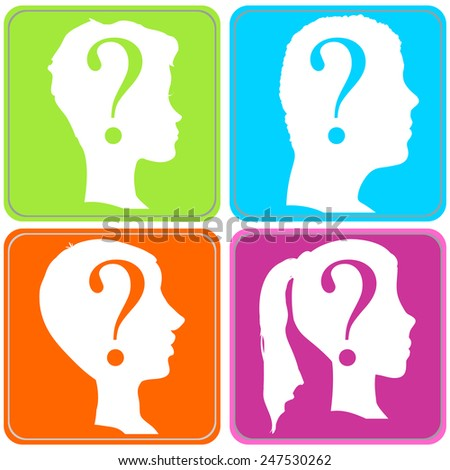 Vector silhouette of a people in profile on a color background.