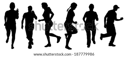 Vector silhouette of a people who running on white background.
