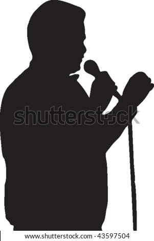 Vector silhouette of a person speaking into a microphone.