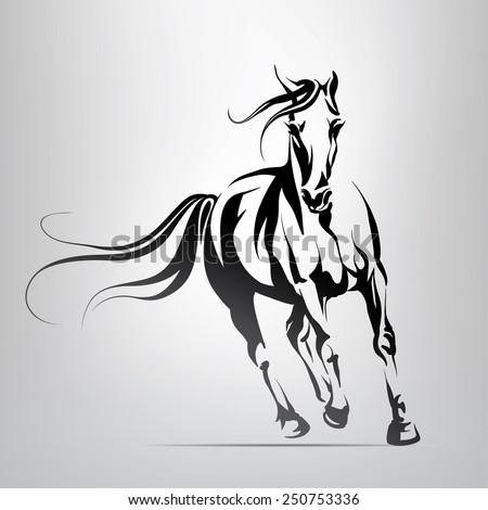 Vector silhouette of a running horse - stock vector