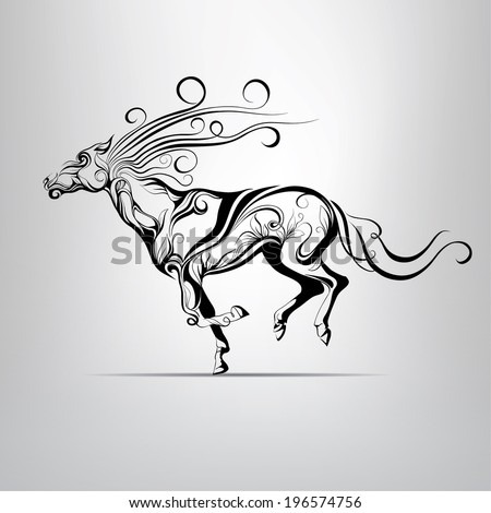 Vector silhouette of a running horse in a vegetative ornament - stock vector