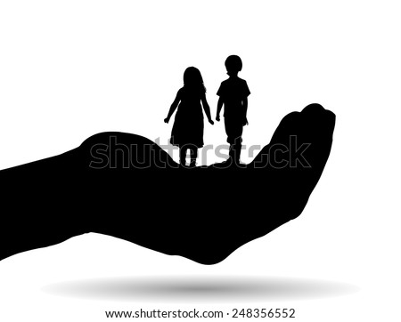 Vector silhouette of a siblings on palm on white background. - stock vector