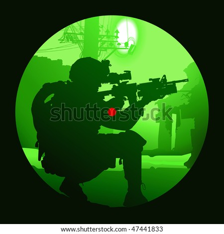 Vector silhouette of a soldier with a gun - stock vector