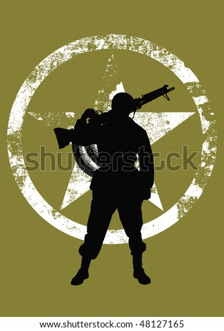 Vector silhouette of a soldier with a machine gun - stock vector