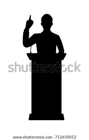 Vector Silhouette Standing Businessman On Podium Stock ...