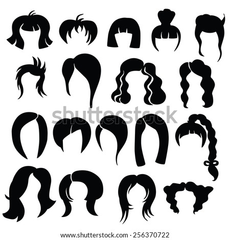 Hair Silhouettes Woman Man Hairstyle Stock Vector ...