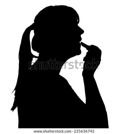 Vector silhouette of a woman in profile on a white background.