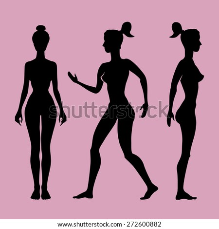 Vector silhouette of a woman on a white background art - stock vector