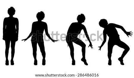 Vector silhouette of a woman who dance. - stock vector