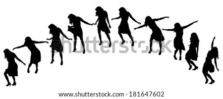 Vector silhouette of a woman who dances on a white background.