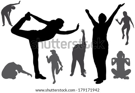 Vector silhouette of a woman who exercises on a white background.