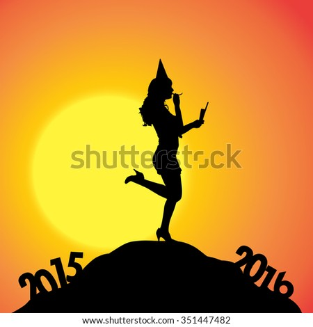 Vector silhouette of a woman who goes for the new year.