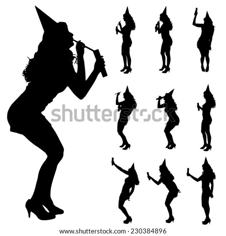 Vector silhouette of a woman who is at the party. - stock vector
