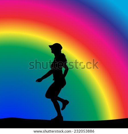 Vector silhouette of a woman who is running in nature. - stock vector