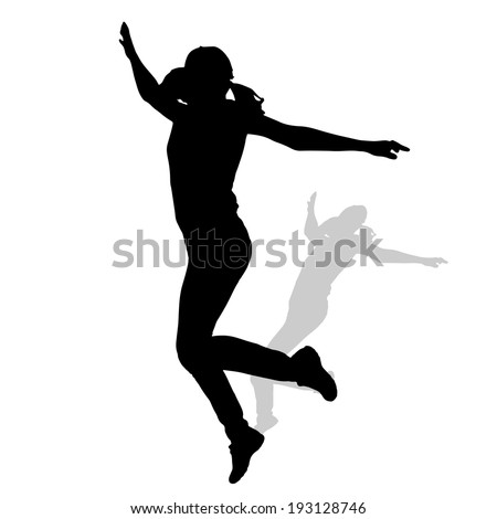 Vector silhouette of a woman who jump on white background.