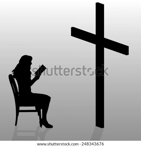 Vector silhouette of a woman who sits in front of a cross. - stock vector