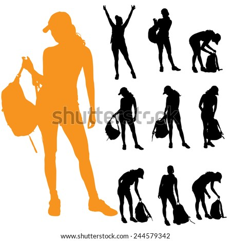 Vector silhouette of a woman with a backpack on a white background. - stock vector