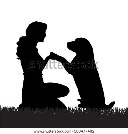 Vector silhouette of a woman with a dog on a walk. - stock vector